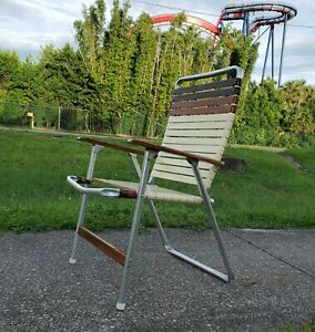 VTG TELESCOPE ALUMINUM FOLDING  CHAIR WITH WOOD ARMS USA