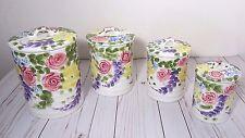 Tabletops Unlimited Jardine Canister Set Cottage Floral Garden Handpainted