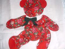 Vtg 90s Victorian Red Poinsettia Bear Doll Toy Cut Sew Stuff Fabric Panel #mfb