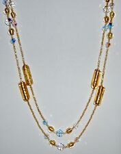 Gold Murano Glass Beads and Crystal Necklace