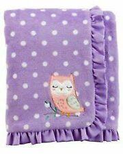 NWT Carters Purple White Pink Polka Dot Owl Satin Trim Plush Baby Girl Blanket