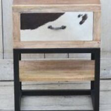RECYCLED MANGO HARDWOOD BEDSIDE / SIDE TABLE WITH TREATED COW HIDE - 55X40X30CM
