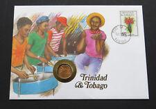 TRINIDAD & TOBAGO 1 CENT 1979 Hummingbird Bird Dollar COIN STAMP COVER FDC