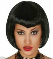 Womens Black Bob Vampiress Wig Ladies Halloween Dracula Fancy Dress Accessory