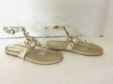 Franco Sarto Silver & Beige Beaded Ankle Strap Espadrille  Sandals Size 8 M