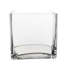 "Large Square Glass Vase Cube 8 Inch 8"" x 8"" x 8"" Centerpiece Wedding Flower"