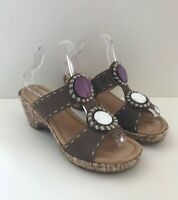 Gabor Womens Comfort G Wider Fit Wedge Heels Leather Sandals Shoes Brown UK 7