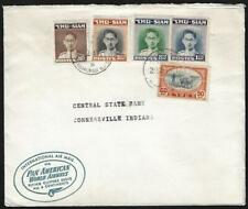 Thailand 1947 Us Pan Am Clipper Air Mail Cover Franked King Bhumibol Issues To