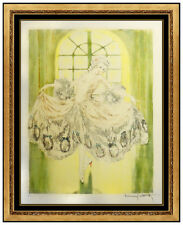 Louis Icart HAND SIGNED Minuet COLORED ETCHING Windmill Art Deco Female Portrait
