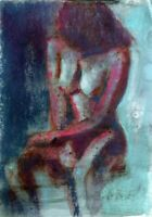 NUDE FEMALE ART- ORIGINAL SIGNED PAINTING- WATERCOLOR AND PASTEL- 9 X 12 INCHE