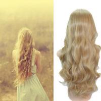 Long Light Blonde Curly Heat Resistant Wavy Women's Cosplay Hair Full Wig Wigs