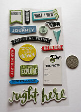 NO 595 Scrapbooking - 15 Chipboard Travel Stickers - Scrapbook Holidays