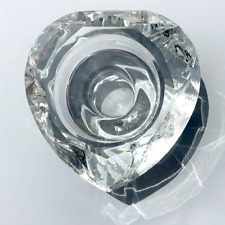 Enchante Tea Light Diamond Cut Heart Crystal Candle Holder, Clear, Fast SHIPPING