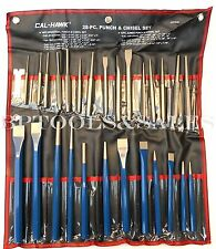NEW 28pc Punch & Chisel Set Cold Taper Center Pin Metal Steel Punch w/ Pouch