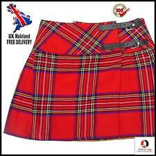 "Ladies Mini Royal Stewart Skirt Mini Kilt 16"" Length Tartan Pleated, Mini Skirt"