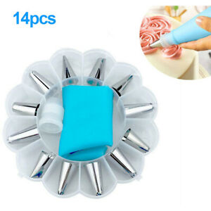14PCS Cake Decorating Tips Set Icing Piping Cream Pastry Bag with  12PCS Nozzle