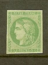 "FRANCE STAMP TIMBRE N° 42B "" CERES BORDEAUX 5c VERT-JAUNE "" NEUF x TB"