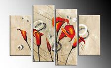"""Arancione Rosso Floreale painting foto 4 PANNELLO diviso WALL ART PICTURE Multi 40"""""""