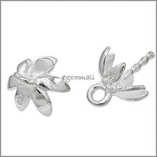 2x Rhodium Plated Sterling Silver Flower Pendant Bail Clasp with Cup Pin #97037