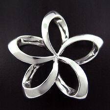 Sterling Silver Large Outline Open Plumeria Pendant Hawaiian Jewelry