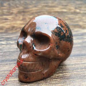 1pc Natural mahogany obsidian skull Quartz Crystal hand carved healing 2''