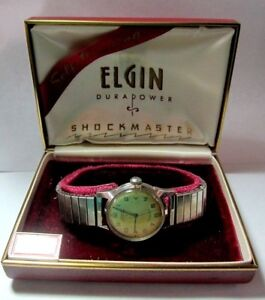 VINTAGE ELGIN DURAPOWER SHOCKMASTER WATCH & BOX AUTHENTIC AUTOMATIC STAINLESS