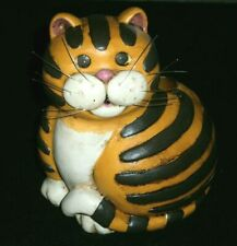 Cat Lovers Orange Striped Tabby Cat Taper Candle Holder / Folksy Fat Cat w/ Tail