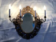 Antique Vintage French Directoire Brass Bronze Figural Cherub Mirror Wall Sconce