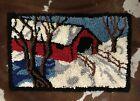 Vintage Hand Hooked Rug 21x33 Folk Art Charming Cottage or Mountain House Decor