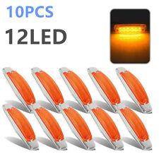 10x Side Marker Light 12LED Panel Under Cab For Peterbilt 379 Amber Clear Lens
