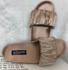 Pedro Garcia Adana Shoe Bisque Satin Rhinestones Slide NWB Size 36 1/2 $695