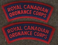 2 ROYAL CANADIAN ARMY ORDNANCE CORPS SHOULDER FLASH - VINTAGE - NEW - 10SD