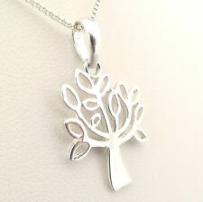 Funky 925 Sterling Silver Open Leaf Olive Tree of Life Pendant with Silver Chain