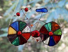 BICYCLE Groovy MULTI COLOURED Suncatcher Handmade BIKE Leadlight STAINED GLASS