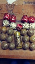 VINTAGE CHRISTMAS ORNAMENT LOT KITSCHY GOLD GLITTER BALLS SATEEN DRUMS CANDLE