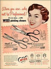 1940s vintage sewing AD WISS Pinking Sheers Scissors 2 models, Newark NJ  080117