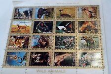 Hojita bloque de 4 x 4 nuevo AJMAN STATE 1973   Animales Salvajes