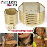 African Jewelry Vintage Bracelet Earrings Necklace Metallic Coil Choker Maxi New