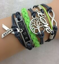 NEW Fashion Jewelry Black/green Hope Love Tibet silver Leather Bracelet DEF07