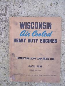 1940s Wisconsin Heavy Duty Engine Model AENL Manual + Parts List Issue MM-283  L