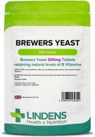Brewers Yeast 300mg X 500 Tablets B Vitamins Energy Vegetarian Vegan Lindens UK