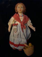Vintage German Gänseliesl 10� Cloth Doll With Basket, Trachtenpuppe