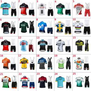 2021 Mens Team Cycling Jerseys Cycling Short Sleeve Jersey And Bib Shorts Set
