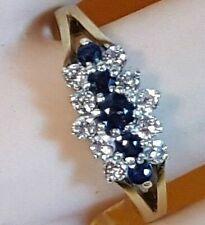 LADIES BEAUTIFUL 9CT GOLD DIAMOND SAPPHIRE RING