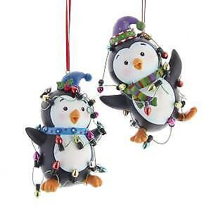 Set of 2 Penguins With Christmas Lights Ornaments w