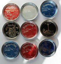 9 Pc. Lot Vintage US States & Landmarks Chrome Drink Coasters ~ Made in Japan