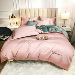 Duvet Cover set Soft Egyptian Cotton 4Pcs Bedding Set Bed Sheet 2Pillowcases