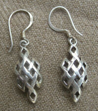Antique Handmade 92.5 % Silver Endless Knot Earring, Nepal