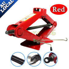 New 2 Ton Car Van Scissor Wind Up Jack Lift with Chromed Crank Speed Handle Red