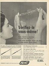 Publicité 1960  Stylo BIC avec l'encre à réaction